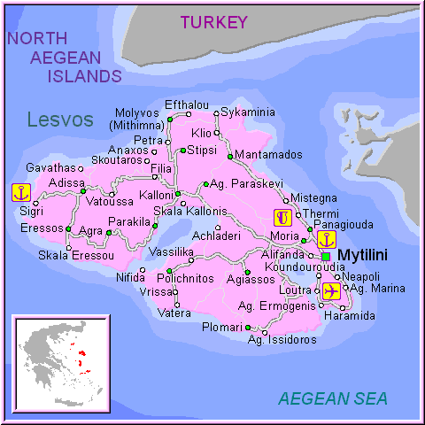 Maps of Lesvos Mytilini Mytilene map